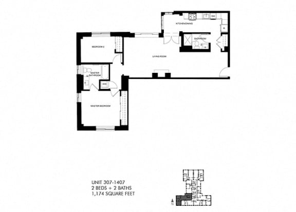 1174 SQFT 2 Bed 2 Bath Floor Plan at Park Heights by the Lake Apartments, Chicago, IL, 60649