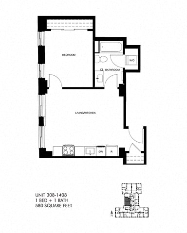 580 SQFT 1 Bed 1Bath Floor Plan at Park Heights by the Lake Apartments, Chicago, Illinois