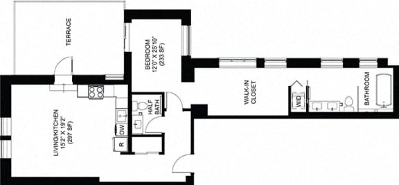 1 Bed 1.5 Bath Floor Plan at Park Heights by the Lake Apartments, Chicago, Illinois
