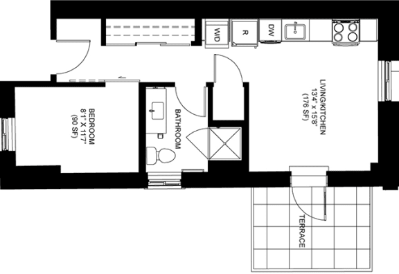 586 SQFT Junior Floor Plan Available at Park Heights by the Lake Apartments, Chicago