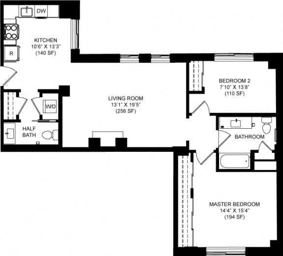 1035 SQFT 2 Bed 1.5 Bath Floor Plan Available at Park Heights by the Lake Apartments, Chicago, IL, 60649