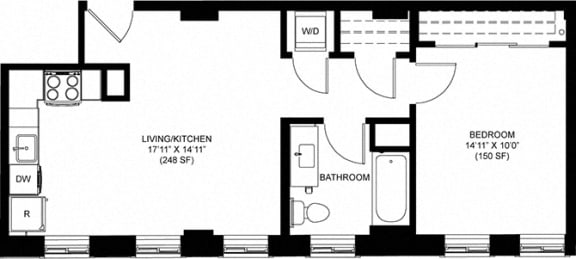 Attractive 625 SQFT 1 Bed 1 Bath Floor Plan  at Park Heights by the Lake Apartments, Chicago, IL, 60649