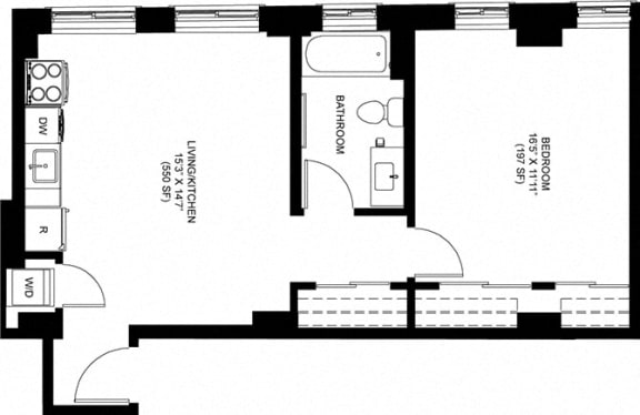 1 Bed 1 Bath Floor Plan at Park Heights by the Lake Apartments, Chicago, 60649
