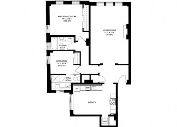 2 Bed 2 Bath Floor Plan at Park Heights by the Lake Apartments, Chicago, IL
