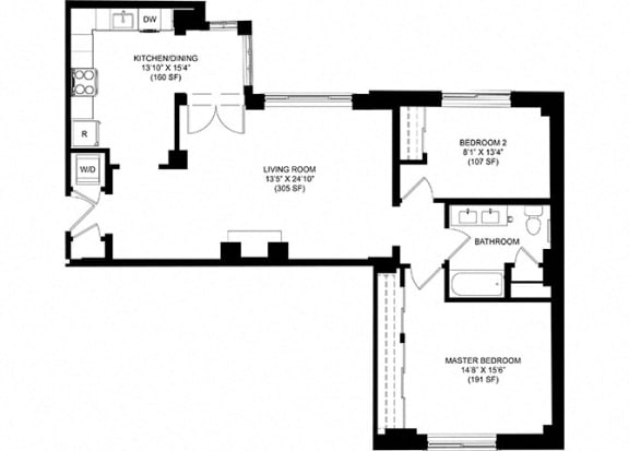 2 Bed 1 Bath Floor Plan at Park Heights by the Lake Apartments, Illinois