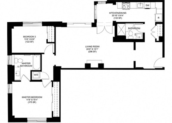 2 bedroom 2 bath Floor Plan at Park Heights by the Lake Apartments, Illinois, 60649