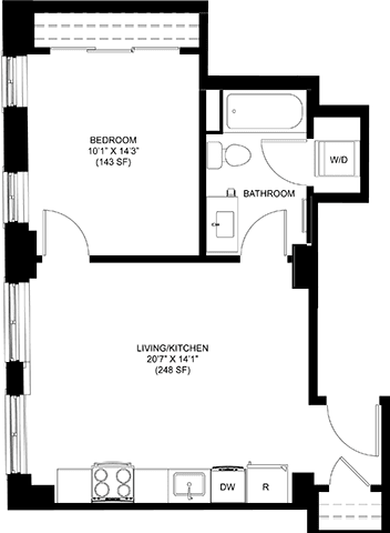 580 SQFT 1 Bed 1Bath Floor Plan at Park Heights by the Lake Apartments, Chicago, IL