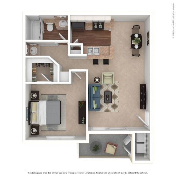Kaikoura 1 Bedroom Floor Plan at The Summit at Chino Hills, California