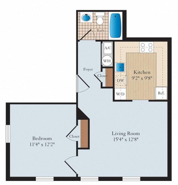 1 Bed 1 Bath A01 Floor Plan at Myerton, Virginia, 22204
