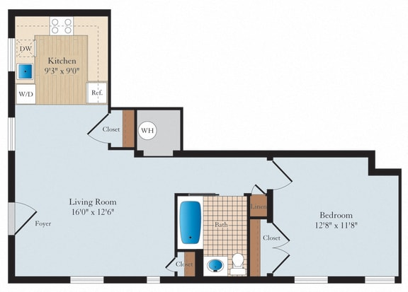 1 Bed 1 Bath A08 Floor Plan at Myerton, Virginia, 22204