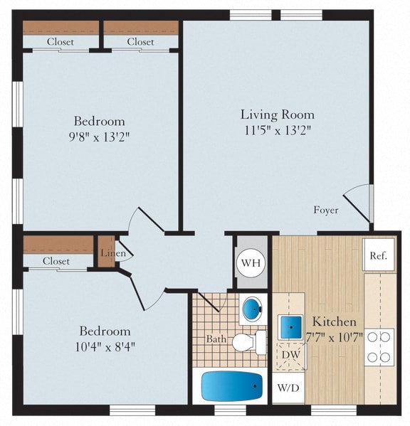 2 Bed 1 Bath B03 Floor Plan at Myerton, Arlington, Virginia