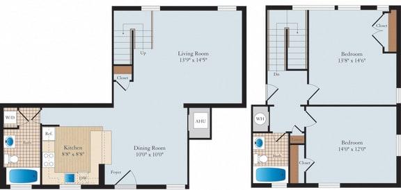 2 Bed 2 Bath B2TH Floor Plan at Myerton, Virginia