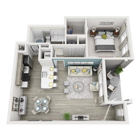 1 Bed 1 Bath Allegre Floor Plan at Altis Shingle Creek, Kissimmee, FL, 34746
