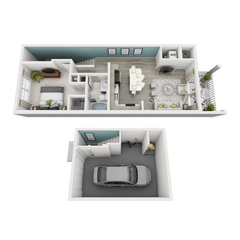 1 Bed 1 Bath Ambiance (Garage) Floor Plan at Altis Shingle Creek, Kissimmee, Florida