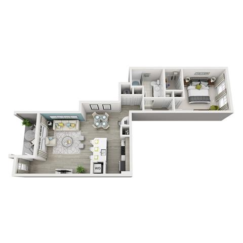 1 Bed 1 Bath Aura Floor Plan at Altis Shingle Creek, Florida