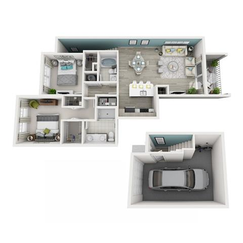 2 Bed 2 Bath Excite (Garage) Floor Plan at Altis Shingle Creek, Kissimmee, 34746