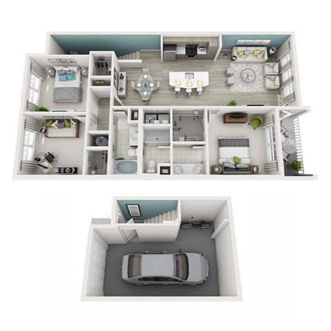 3 Bed 2 Bath Radiant (Garage) Floor Plan at Altis Shingle Creek, Kissimmee