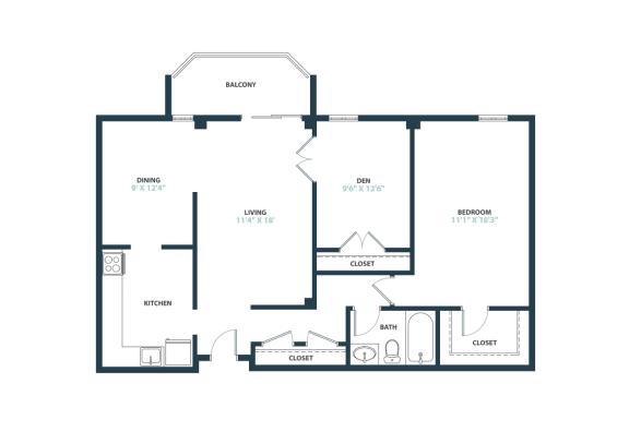 Trillium One Bedroom with den apartment home in Fairfax, VA