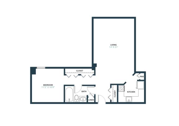 Trillium Studio apartment home in Fairfax, VA