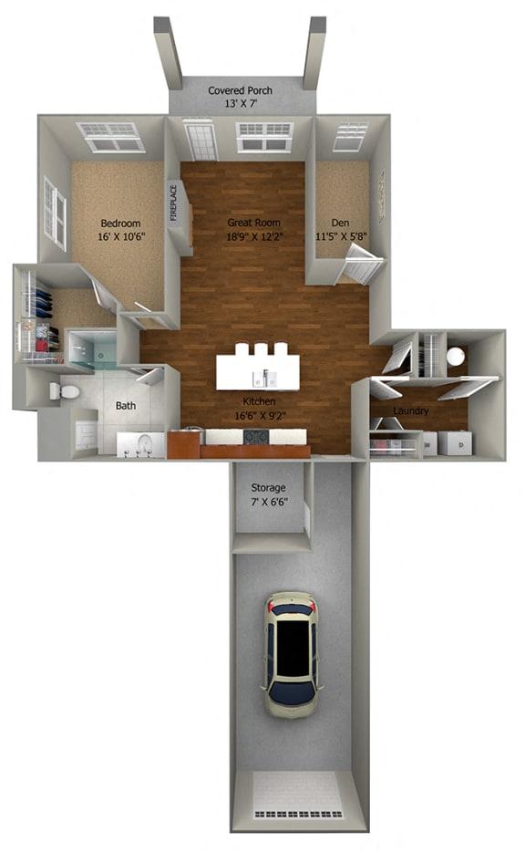 1 bedroom + den (963 sf)1 FloorPlan at Cedar Place Apartments, Wisconsin