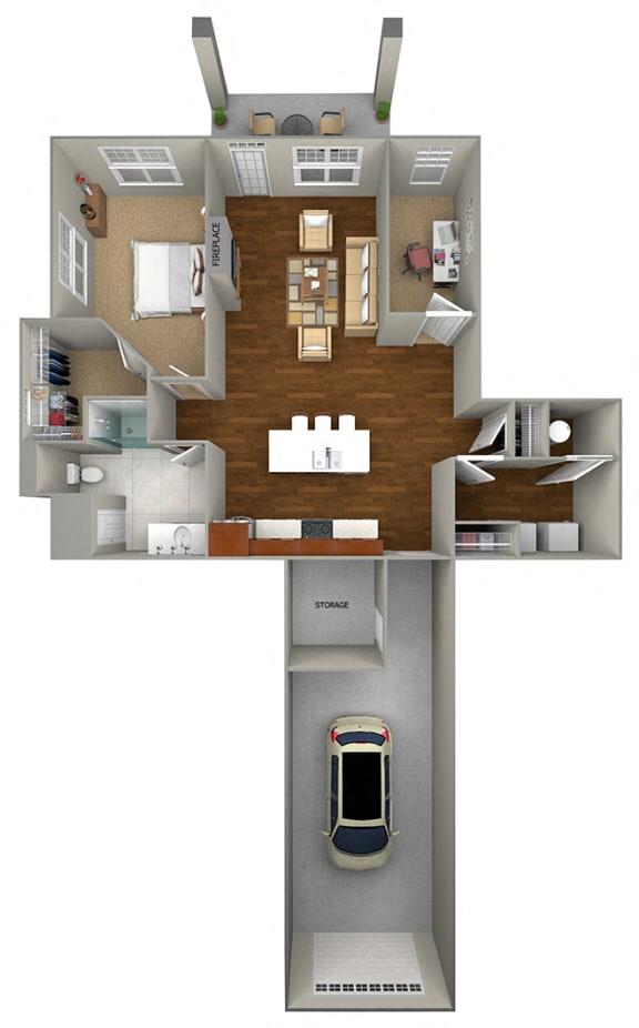1 Bedroom + Den/1 Bath (963 sf) Floor Plan at Cedar Place Apartments, Cedarburg, WI