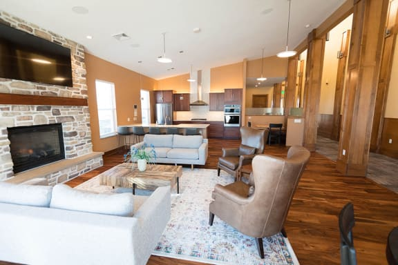 Clubhouse With Fireplace at Cedar Place Apartments, Wisconsin, 53012