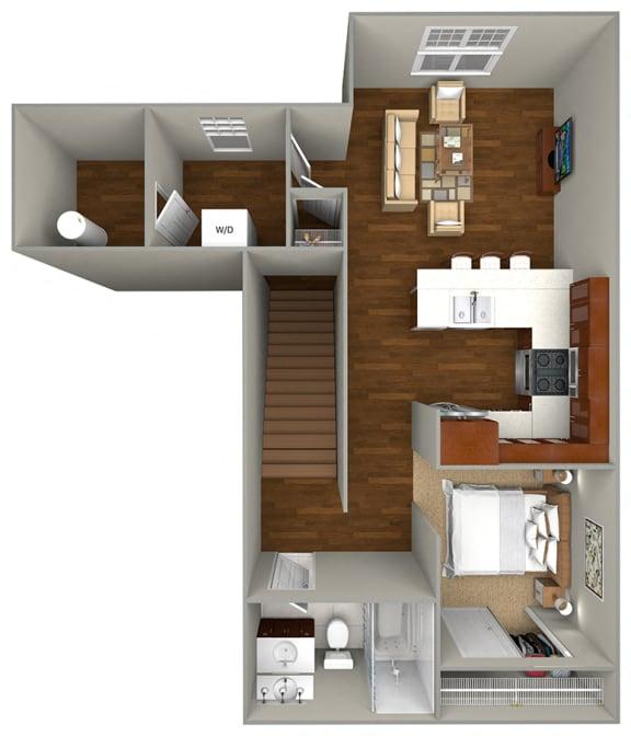 Floor Plan  Studio (624 sf) Floor Plan at Cedar Place Apartments, Cedarburg, WI, 53012