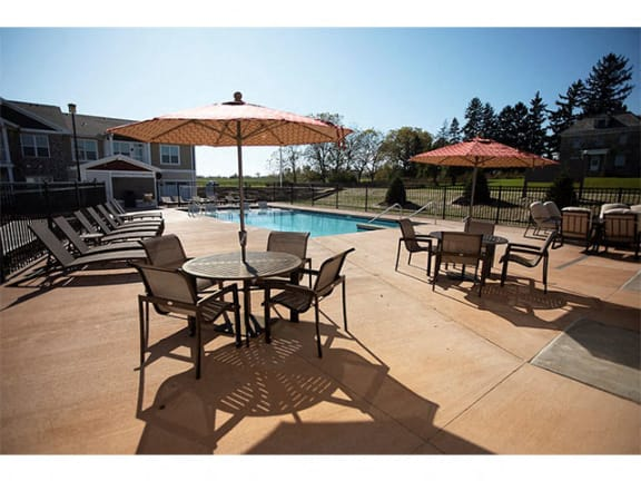 Relaxing Area By The Pool at Cedar Place Apartments, Cedarburg, Wisconsin