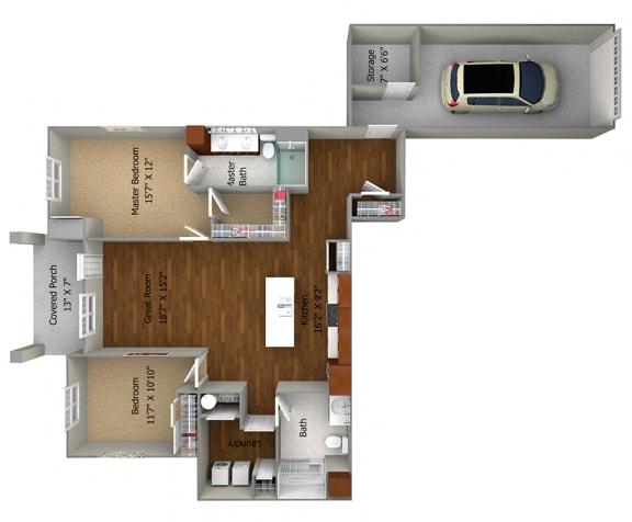 2 Bedroom/2 Bath (1258 sf) Floor Plan at Cedar Place Apartments, Cedarburg, WI