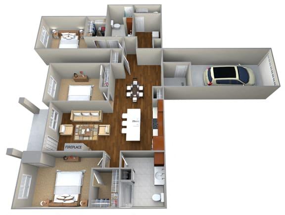 Floor Plan  3 Bedroom/2 Bath (1697 sf) Floor Plan at Cedar Place Apartments, Cedarburg, 53012