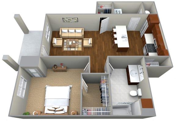 Floor Plan  1 Bedroom/1 Bath (778 sf) Floor Plan at Cedar Place Apartments, Cedarburg, Wisconsin