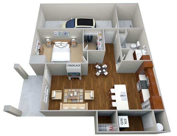 Floor Plan  1 Bedroom/1 Bath (839 sf) Floor Plan at Cedar Place Apartments, Cedarburg, WI