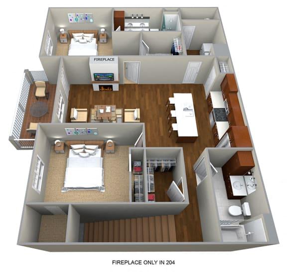 Floor Plan  2 Bedroom/2 Bath (1266 sf) Floor Plan at Cedar Place Apartments, Cedarburg