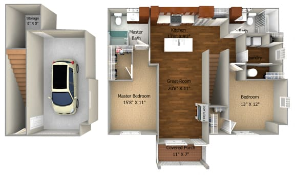 2 Bedroom/2 Bath (1188 sf) Floor Plan at Cedar Place Apartments, Cedarburg, WI