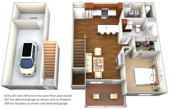 Floor Plan  Apartment 207 and 209 1 Bedroom 1 Bath Floor Plan at Cedar Place Apartments, Cedarburg, WI, 53012