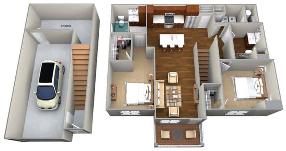 2 Bedroom/2 Bath (1237 sf) Floor Plan at Cedar Place Apartments, Cedarburg, 53012