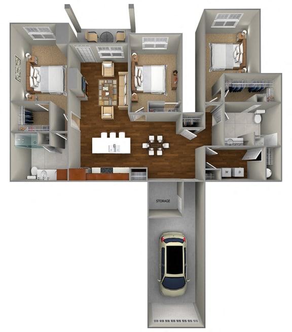 Floor Plan  3 bed/2Bath (1696 sf) FloorPlan at Cedar Place Apartments, Wisconsin