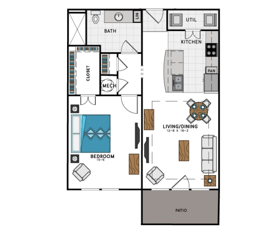 1 Bed 1 Bath A5A Floor Plan at Westside Heights, Georgia