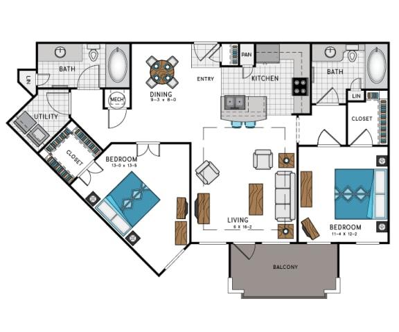 2 Bed 2 Bath B3 Floor Plan at Westside Heights, Atlanta, Georgia