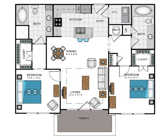 2 Bed 2 Bath B4B Floor Plan at Westside Heights, Georgia