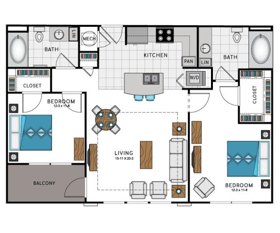 2 Bed 2 Bath B7C Floor Plan at Westside Heights, Georgia, 30318