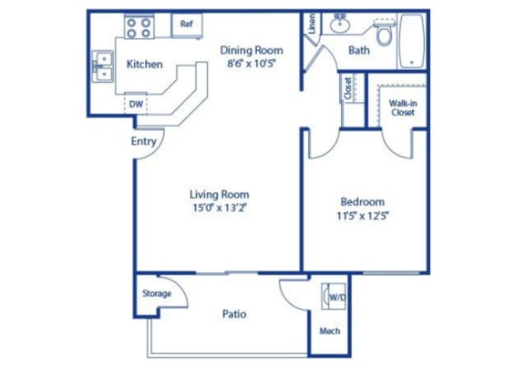 1 Bedroom 1 Bath Palmetto Updated Floor Plan at Solterra at Civic Center, California