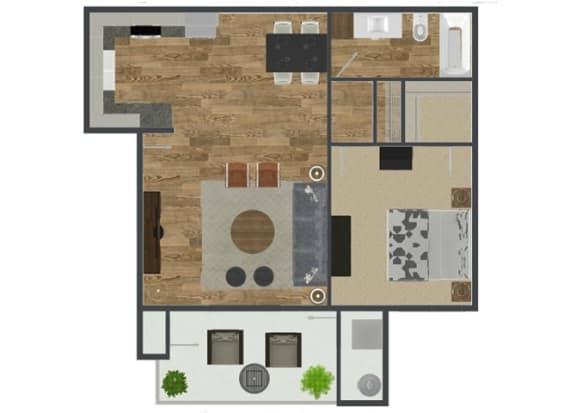 1 Bed 1 Bath Palmetto Floor Plan at Solterra at Civic Center, Norwalk, CA, 90650