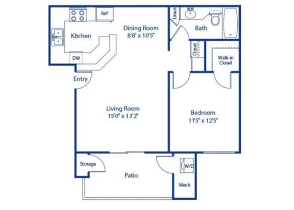 1 Bedroom 1 Bath Floor Plan at Solterra at Civic Center, Norwalk, California