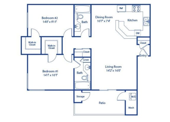 2 Bedroom 2 Bath Floor Plan at Solterra at Civic Center, California
