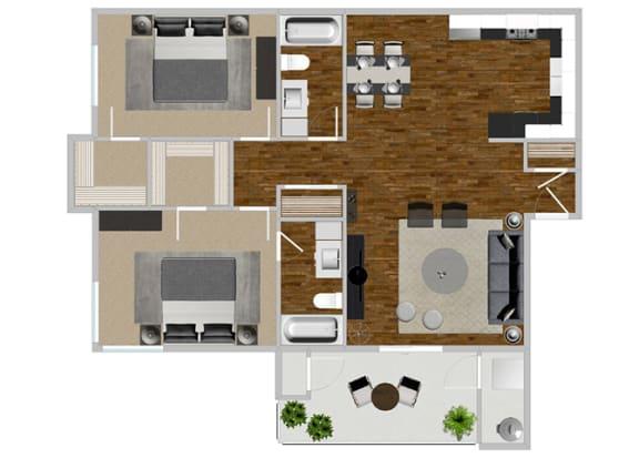 Floor Plan  2 Bedroom 2 Bath at Solterra at Civic Center, California, 90650