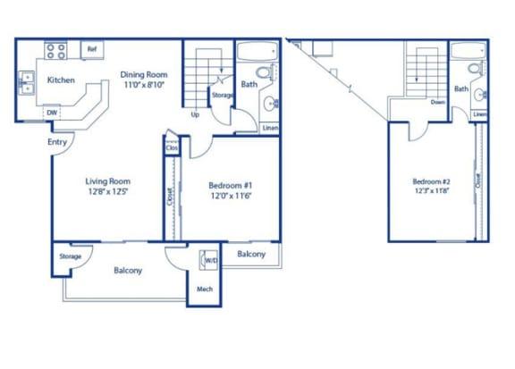 Eucalyptus Reno 2 bedroom 2 bath at Solterra at Civic Center, California, 90650