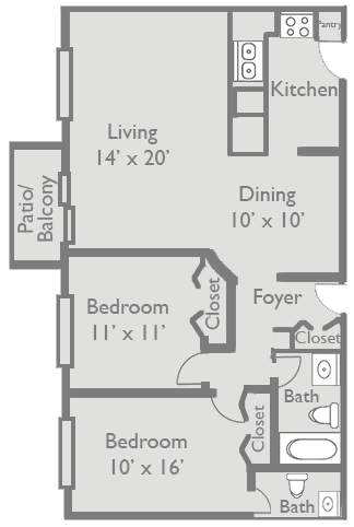 Floor Plan  2 Bed 1.5 Bath B1 Floor Plan at Axis at Westmont, Westmont, IL