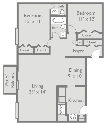 Floor Plan  2 Bed 1.5 Bath B3 Floor Plan at Axis at Westmont, Westmont, Illinois