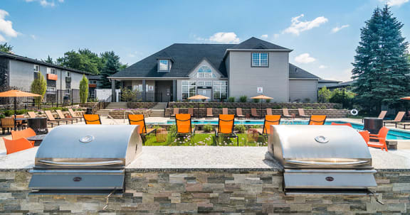 Poolside Grilling Area at Axis at Westmont, Illinois, 60059